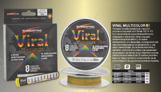Braided Line Viral 300m 0.20mm Multicolor